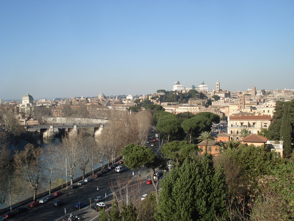Picture over Rome and the Tiber River